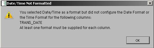 Format not specified for Date/Time for text import