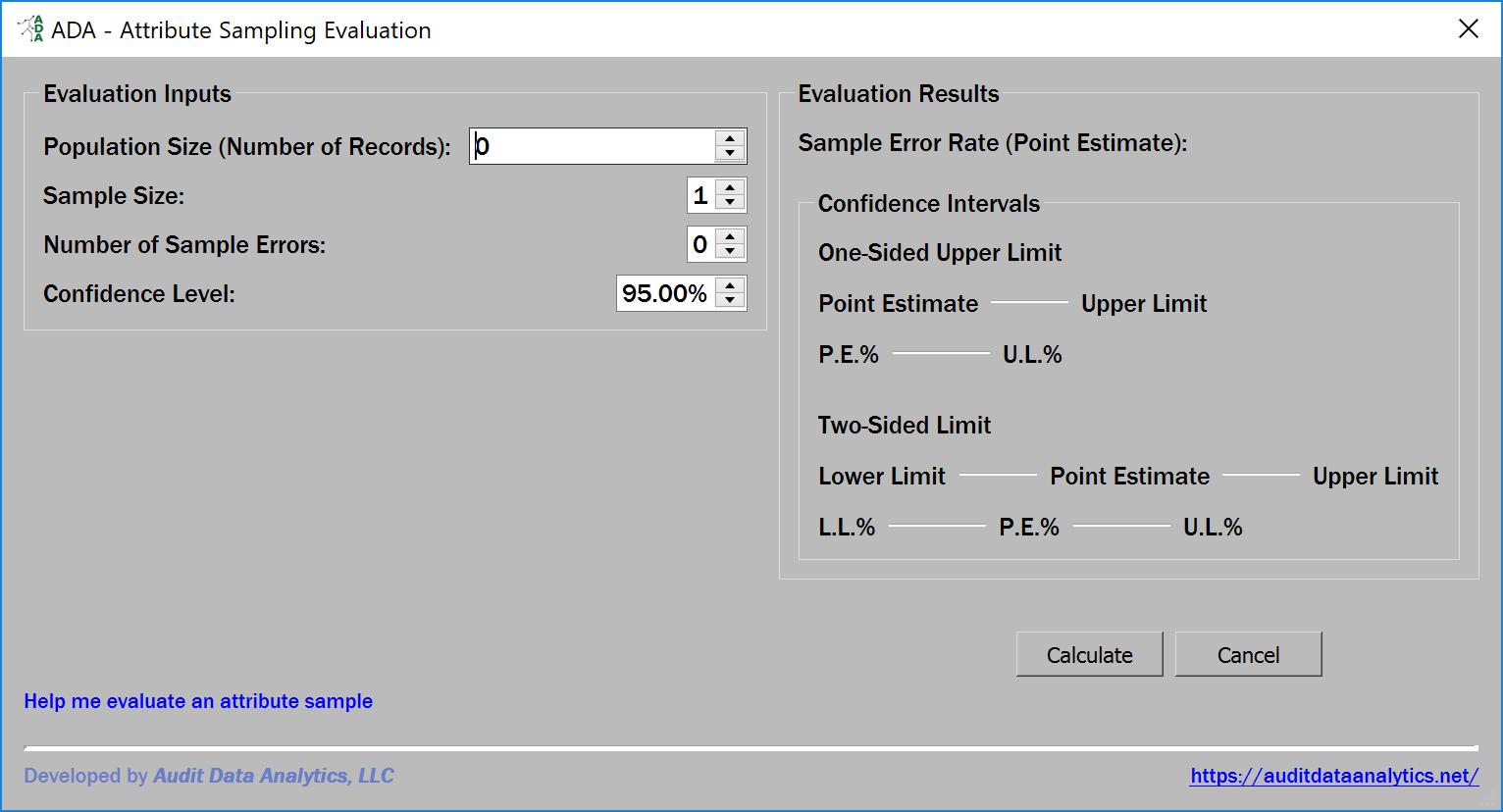 attribute sample evaluation dialog