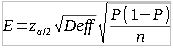 Formula used to calculate margin of error for the sample