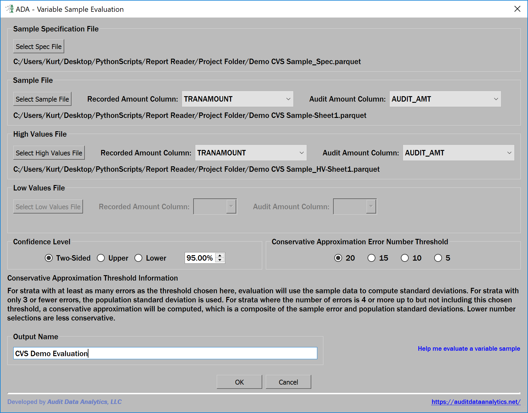 variable sample evaluation dialog