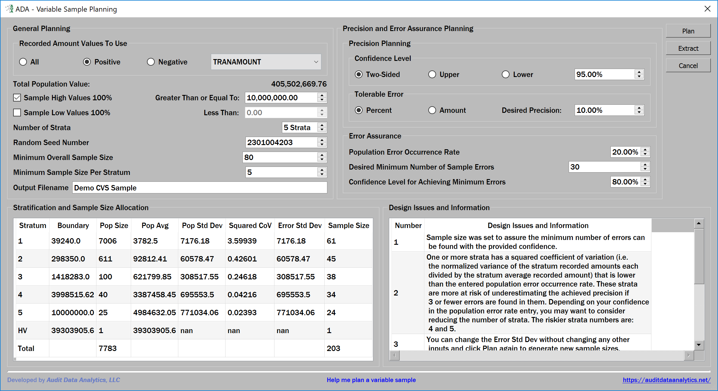 variable sample planning dialog