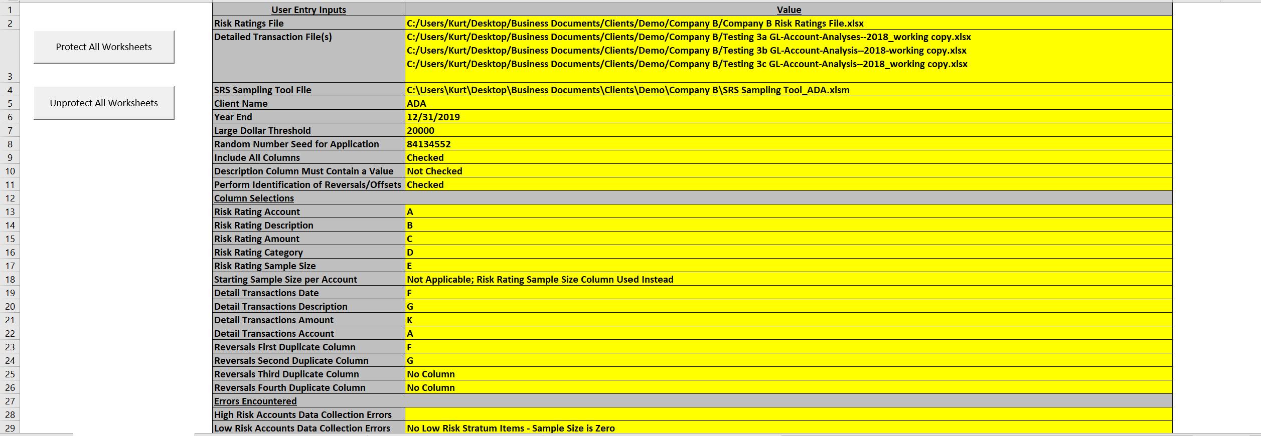 Sampling Tool Inputs and Errors
