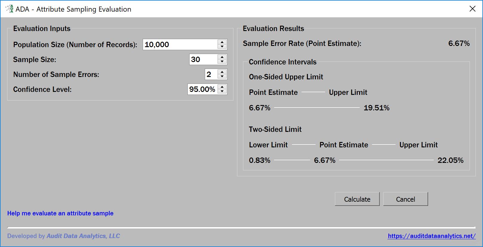 attribute sample evaluation