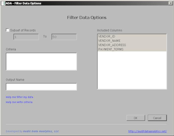 filter audit data dialog