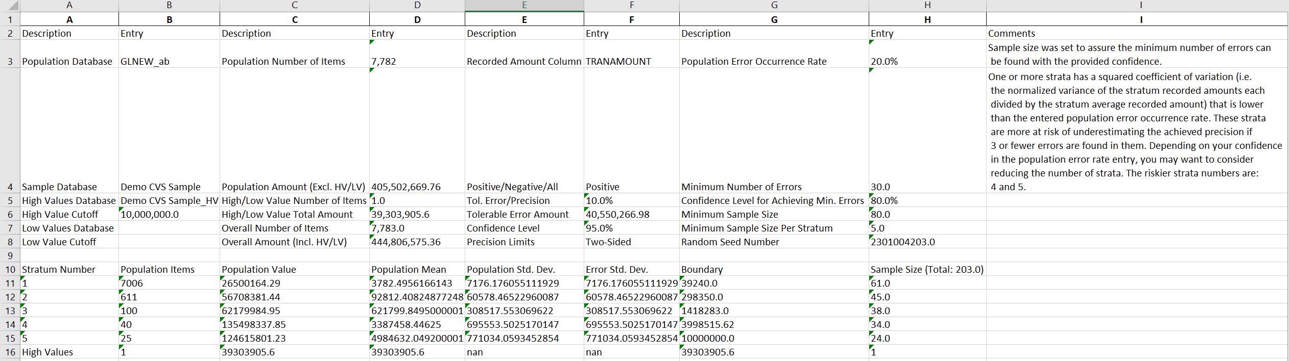 variable sample evaluation spec file